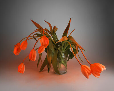Stephanie Syjuco, 'Orange Alert (Fluorescent Orange on White Tulips)', 2019