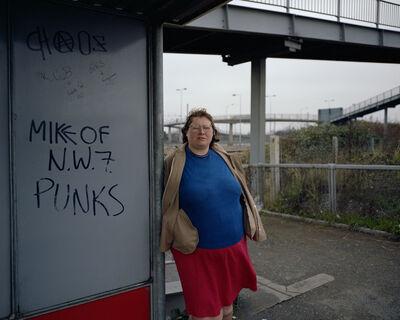 Paul Graham, 'Woman at Bus Stop, Mill Hill, North London, November', 1982