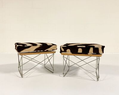 Charles and Ray Eames, 'LTR Tables with Zebra Cushions, pair', mid 20th century