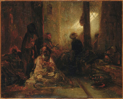 Alexandre-Gabriel Decamps, 'Interior of a Turkish Cafe', Between 1833 and 1860