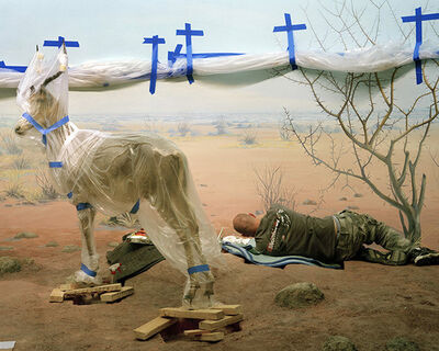 Richard Barnes, 'Single Ungulate and Man Amid Blue Crosses', 2008
