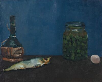 Alberto Ziveri, 'Still life with fiasco and fish', 1966