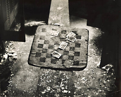 Arthur Tress, 'Cards and Checkerboard in Abandoned Locker Room for Railroad Workers', 1970c/1970c
