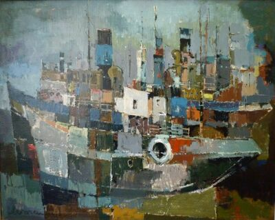 Jan Homan, 'Haven met schepen nr. 1 (Harbor scene)', 1957