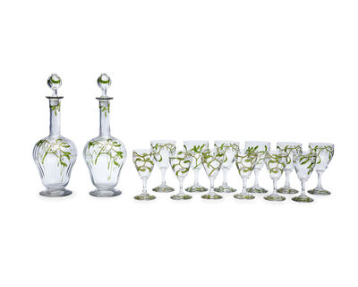 Edmond Lachenal, 'Two decanters, six wine and six aperitif glasses, 14 pieces'