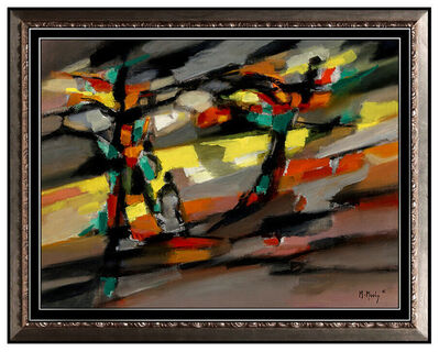 Marcel Mouly, 'MARCEL MOULY Original OIL PAINTING on CANVAS Signed VINTAGE Abstract Cubism Art', 1961