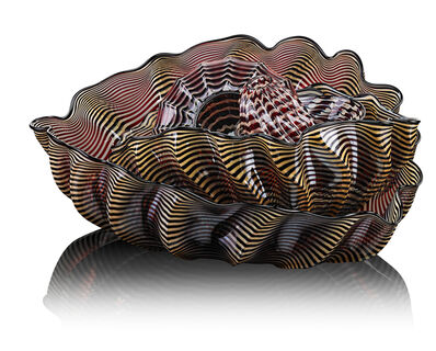 Dale Chihuly, 'Six-piece black, gold, and red Seaform Set with Black Lip Wrap', 2000
