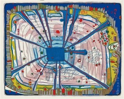 Friedensreich Hundertwasser, 'Rain of Blood is falling into the Garden, from: Nana Hyaku Mizu', 1972