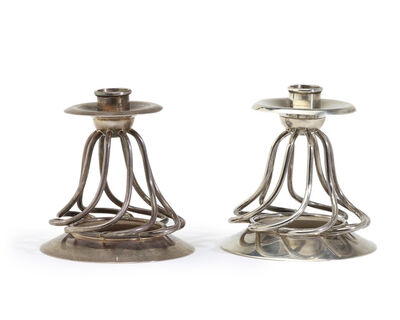 William Spratling, 'A pair of William Spratling sterling silver twisted wire candlesticks', 1952-1966
