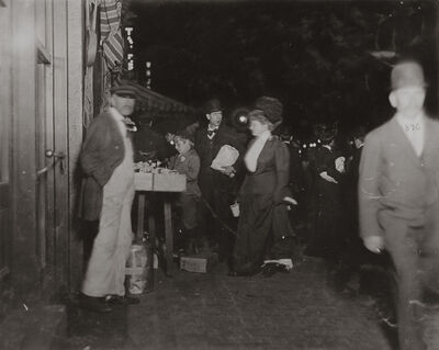 Lewis Wickes Hine, 'Small Vendor Selling Late at Night in Boston Market, Boston, Massachusetts', 1909