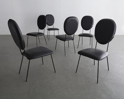 Joaquim Tenreiro, 'Set of six (6) chairs with black upholstered seats and backs and black wrought iron legs', 1958