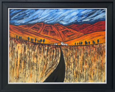 Steve Capper, ''Ploughed Fields' Blue Red Orange Abstract Landscape Painting', ca. 2018