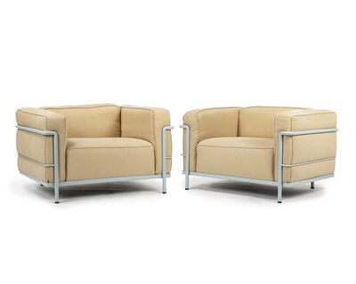 Le Corbusier, 'A pair of Le Corbusier LC3 club chairs, Cassina', designed 1928