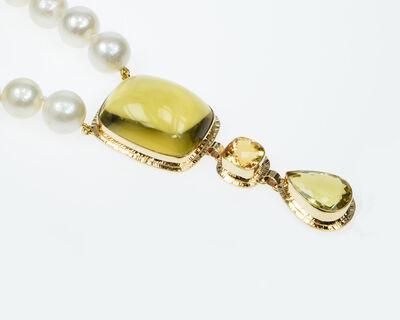 Michael Baksa, 'Lemon & Honey Citrine with White Freshwater Pearl necklace', 2019