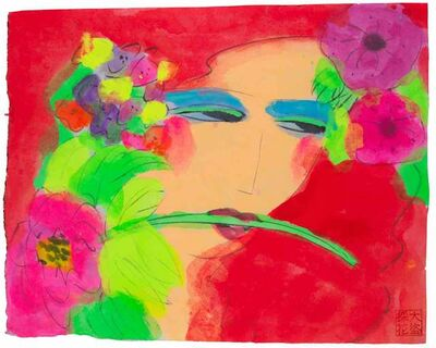 Walasse Ting 丁雄泉, 'Red Lady with Flowers in Her Hair', 2000