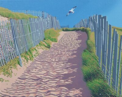 "Rob Brooks, '""Beach Path"" oil painting of a tail leading to the beach with a seagull and blue sky', 2020"