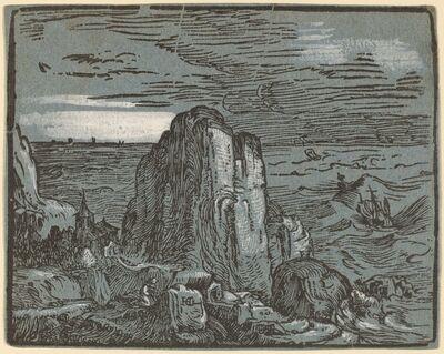 Hendrik Goltzius, 'Cliff on the Seashore', probably 1592/1595