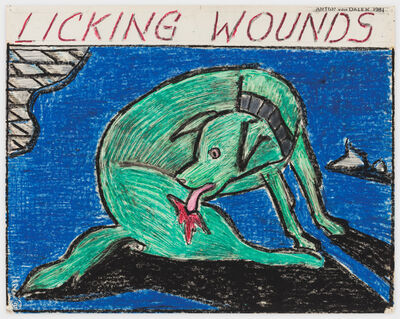 Anton van Dalen, 'Licking Wounds (green dog, blue background)', 1981