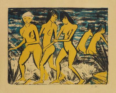 Otto Müller, 'FÜNF GELBE AKTE AM WASSER', 1921