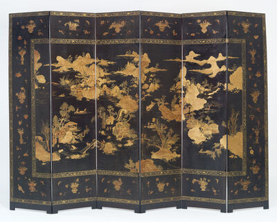 Anonymous, 'Chinese Six Fold Lacquer Screen', ca. 1750