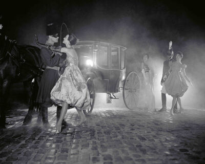 William Helburn, 'Stagecoach at Night, Carmen Dell'Orefice, Lucinda Hollingsworth, and Joanna McCormick, Harper's Bazaar', 1958