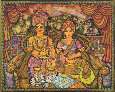 Jayasri Burman, 'Draupadi and Yudhistir', 2017
