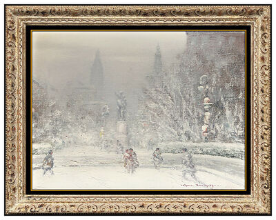 Johann Berthelsen, 'Johann Berthelsen Original New York Winter Scene Snow Painting Oil On Canvas Art', 20th Century