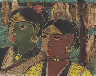 B. Prabha, 'Untitled (Fisherwomen)'