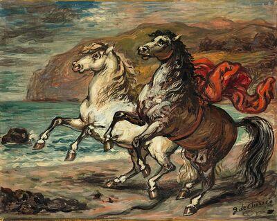 Giorgio de Chirico, 'Cavalli presso un golfo', 1958