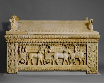 Unknown Cypriot, 'Limestone sarcophagus: the Amathus sarcophagus', 2nd quarter of the 5th century B.C.