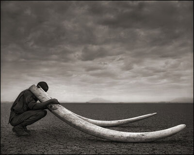 Nick Brandt, 'Ranger with Tusks of Killed Elephant, Amboseli ', 2011