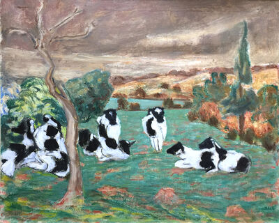 Henryk Gotlib, 'Landscape with Black and White Cows', 1952