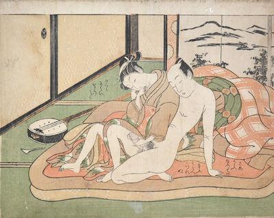 Suzuki Harunobu, 'Tender Moment:  The Forgotten Shamisen', ca. 1760
