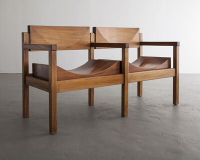 "Joaquim Tenreiro, 'Two-seat ""Tree Trunk Bench"" in solid, shaped rosewood', ca. 1954"