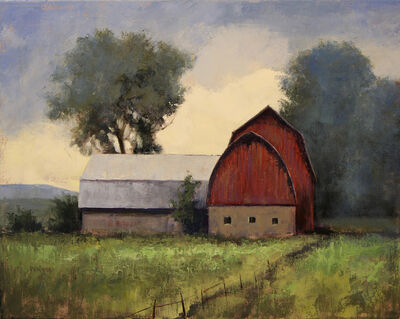 Simon Winegar, 'Two Pitches (Barn, Red, trees, farm, ranch)', 2017