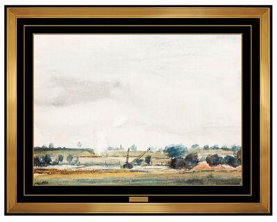 Peter Hurd, 'Peter Hurd RARE Original Watercolor Painting Signed Landscape Authentic Artwork', 1942