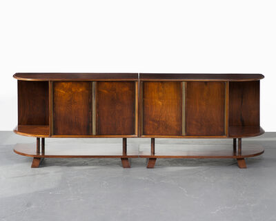 Joaquim Tenreiro, 'Two-piece credenza in jacaranda with four doors and curved sides', ca. 1950