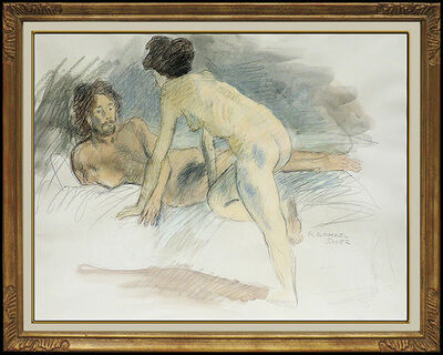 Raphael Soyer, 'Raphael Soyer Original Watercolor Painting Signed Nude Female Illustration Art', 20th Century