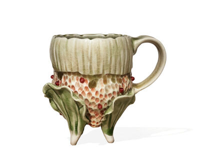 Bonnie Seeman, 'Rare Sculptural Mug with Green Leaves and Pomegranate Seeds ', 2008