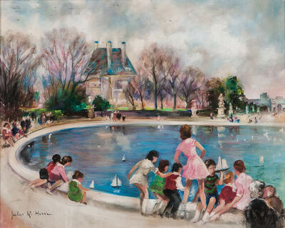 Jules René Hervé, 'Sailing Toy Boats in the Tuileries Garden'