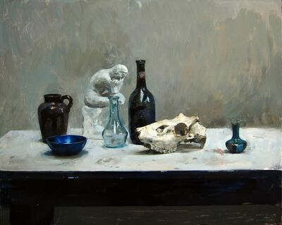 Hollis Dunlap, 'Still life with bottle and skull', 2018