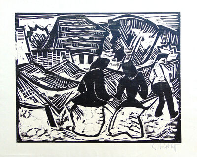 Karl Schmidt-Rottluff, 'By the Nets   Bei den Netzen', 1914