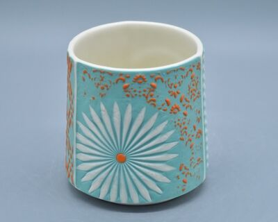 Kelly Justice, '2.Turquoise Cup with Orange and White Flowers', 2021