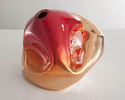 Jeff Zimmerman, 'Unique crumpled sculptural vessel in silver mirrorized translucent hand-blown glass with red-colored top and glass crystals. Designed and made by Jeff Zimmerman.', 2014