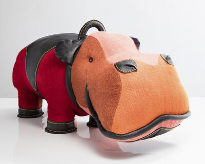 "Renate Müller, '""Therapeutic Toy"" hippopotamus in patchwork red jute with black leather detailing. Designed and made by Renate Müller, Germany, 2016.', 2016"
