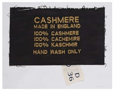 Analia Saban, '100% Cashmere, Made in England, Clothing Tag', 2019