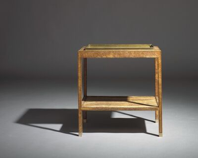 """Kaare Klint, 'An unusual unique oak burl tray table with underlying shelf. Edges and legs with profiles. Loose tray and """"shoes"""" of brass.'"""
