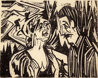 Ernst Ludwig Kirchner, 'Wie Josua Grübler seinen Weg fand: Josua und Priska (As Josua Grübler Found...)', 1923
