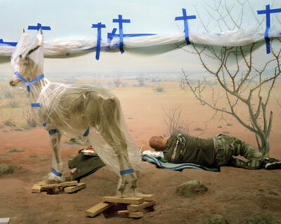 Richard Barnes, 'Single Ungulate and Man Amid Blue Crosses from Animal Logic', 2008