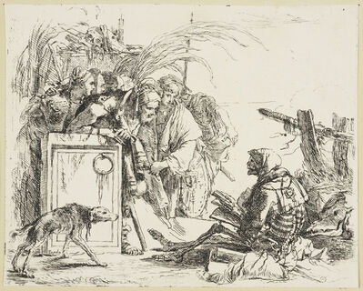 Giambattista Tiepolo, 'A group of figures discovering a skeleton reading', ca. 1740